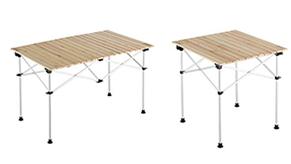 田中さんがお気に入りのナチュラルウッドロールテーブル。「コンパクトに収納できて持ち運びが便利なんです。天然木なので使い込むと風合いがよくなるんですよ」